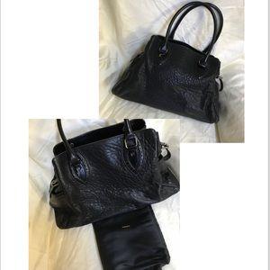 """Fendi """"Du Jour"""" Black Pebbled Leather Satchel"""
